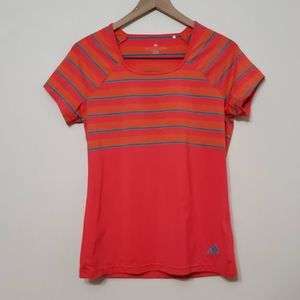 Adidas Striped Climalite Short Sleeve Workout Top